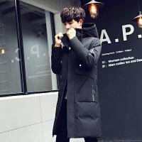 反季清仓羽绒服青年男士韩版连帽中长款外套冬季修身加厚潮流男装