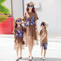 亲子装夏装新款潮网纱母子母女装一家T恤连衣裙春装