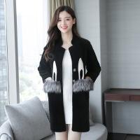 2017新款兔子羊剪绒皮草外套时尚气质女水波纹羊毛大衣中长款银狐