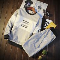 秋冬季青少年学生男生韩版潮流加绒加厚两件套头圆领卫衣运动套装