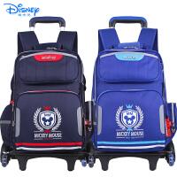 迪士尼儿童小学生书包三轮可爬楼配送防雨罩拉杆书包TGMB0199