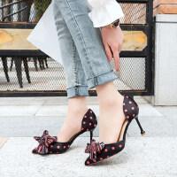 韩版百搭蝴蝶结时尚细跟尖头高跟鞋小单鞋女仙女风凉鞋女