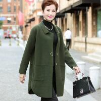 时尚韩版妈妈装秋装长袖针织开衫中老年女装新品纯色翻领外套 均码