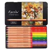 马可品牌雷诺阿12色植物人物风景主题包手绘油性彩色铅笔3100铁盒
