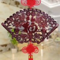 兴润阁 中国结挂件桃木扇形中国结大号木雕壁饰挂饰特色手工艺品