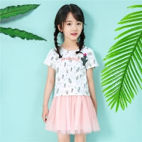 【一口价103元】拉夏贝尔童装女童短袖T恤2019夏季新款儿童韩版时尚洋气印花