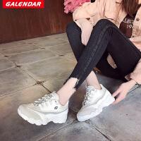 Galendar女子跑步鞋2018新款女士百搭网面透气增高运动休闲慢跑鞋KMAA56