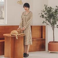 格子�L袖�B衣裙2020年春季新款女�b�n版��松�凸鸥哐��W生中�L裙子