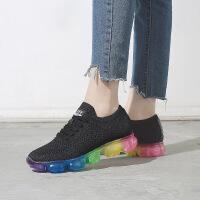 秋季新款彩虹鞋底女士运动鞋织物增高鞋休闲潮透气跑步鞋FA