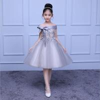 长袖生日主持人晚礼服冬儿童礼服公主裙女童蓬蓬纱花童钢琴演出服