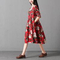实拍秋装新款韩版大码女装长袖宽松花色连衣裙女中长款