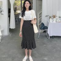 韩版时尚休闲套装夏装女装宽松短袖T恤上衣+鱼尾波点半身裙两件套 均码