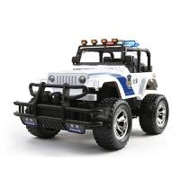 男孩1:12吉普悍马车四通道充电越野车遥控警车儿童仿真遥控车玩具车模型
