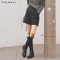 格子复古休闲裤2019冬季新款女韩版宽松小个子高腰显瘦阔腿短裤子