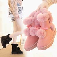 雪地靴女百搭冬季短靴毛球球防滑学生雪地棉鞋潮