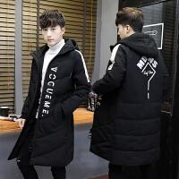 男士棉衣长款过膝冬季加厚外套2017新款韩版潮流个性潮牌冬装 黑色02棉衣长款