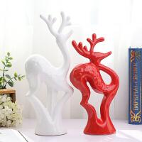 陶瓷摆件家居工艺装饰品电视柜客厅现代创意结婚礼物三四口之家鹿