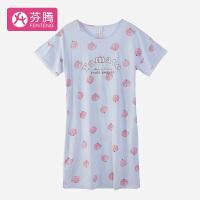 芬腾小清新田园番茄卡通圆领纯棉针织家居服女士睡裙 2色可选