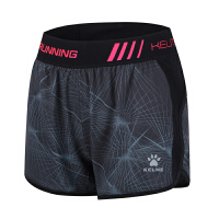 KELME卡尔美 K16R4005 女式梭织运动短裤 平口跑步运动健身裤 薄款透气速干三分裤
