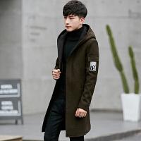 毛呢大衣男中长款秋季韩版修身潮流帅气秋冬羊毛呢子风衣妮子外套 绿色 M