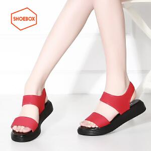 SHOEBOX/鞋柜简约纯色休闲舒适松糕底女凉鞋
