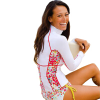 女士长袖防晒衣 潜水服 水母衣冲浪浮潜衣分体游泳衣 莱卡衣913 913白色上衣