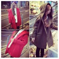 韩观秋冬季韩版春天学生大码中长款妮子大衣可爱毛呢外套女连帽上衣潮 均码