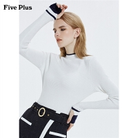 FIVE PLUS2019新款女冬装长袖针织衫女修身套头打底衫潮立领撞色