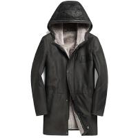 年冬装新款进口绵羊皮毛一体真皮修身中长款连帽皮衣男皮草外套 太空灰