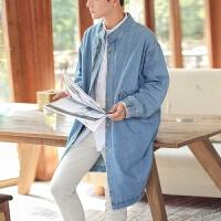 日系复古个性牛仔风衣男春秋中长款青年韩版宽松立领帅气大衣外套 浅蓝色