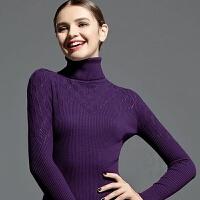 秋冬新款女装 高领毛衣女长袖套头镂空针织打底衫紧身短款上衣薄 紫色 菱形镂空高领