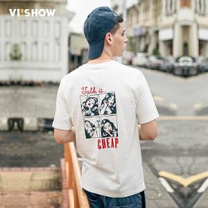 viishow男T恤 夏装新品漫画印花短袖t修身纯棉体恤青年男士