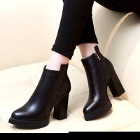 潮欧洲站女靴子欧美秋冬新款马丁靴裸靴粗跟高跟尖头短靴加绒女鞋 黑色