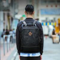 双肩包男休闲背包2017新款学生电脑书包时尚潮流大容量旅行包as 黑色+15天包退+质量三包