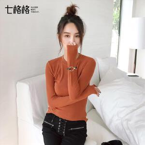 紧身显瘦弹力2017秋装新款韩版简约修身针织长袖圆领T恤上衣女潮