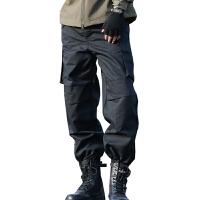 男装多口袋休闲裤宽松工装裤男士直筒长裤子作训裤保安裤 黑色