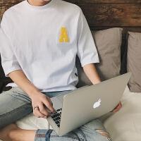 男士圆领短袖T恤2017夏季新款男士短袖T恤宽松字母半袖T恤男潮