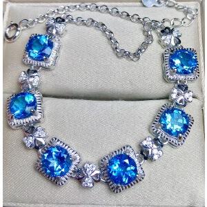 纯天然瑞士蓝托帕石手链,主石尺寸:6x6mm。全净体