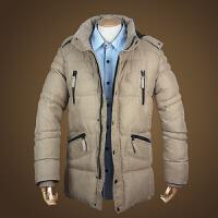 冬装外套男士棉衣加厚中长款羽绒可脱卸连帽