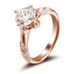 先恩尼钻戒 红18k 玫瑰金 1.5克拉 豪华女款钻石戒指 HFA040爱的守护