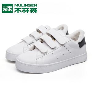 木林森女棉鞋冬季保暖加绒韩版学生平底圆头休闲鞋低帮板鞋