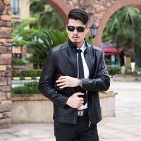 EASZin 春季男士皮衣外套韩版春装中年休闲男款pu薄款外套皮夹克衣服