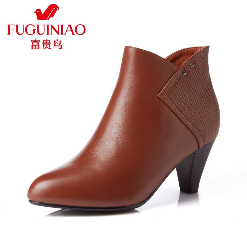 富贵鸟女靴 秋冬季新款粗跟短靴女靴子英伦风单靴马丁靴潮