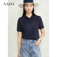 【券后到手价:104.9元】Amii100%珠地棉字母绣花T恤2020夏季新款polo衫纯棉短袖上衣女潮