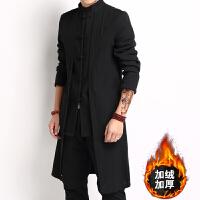 冬季复古中国风盘扣棉麻男士中长款风衣加绒加厚大码休闲男装外套