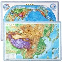 世界地形地图+中国地形全新版3d凹凸立体地形图凹凸立体地图尺寸55.5cm*38cm高清凹凸立体地图学生学习地形图地理
