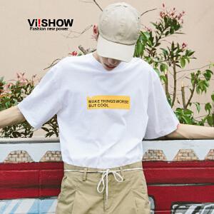 VIISHOW2018夏季新款男士短袖T恤圆领宽松韩版帅气上衣纯棉套头
