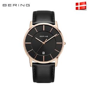 Bering白令复古简约时尚男士手表进口日历钢带皮带腕表潮13139