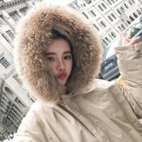 实拍新款韩国超大貉子真毛领厚实工装棉衣女冬季大外套