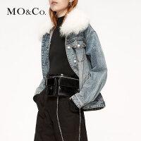 MOCO2019秋新品毛领牛仔外套70年代牛仔服MAI3JKT014 摩安珂